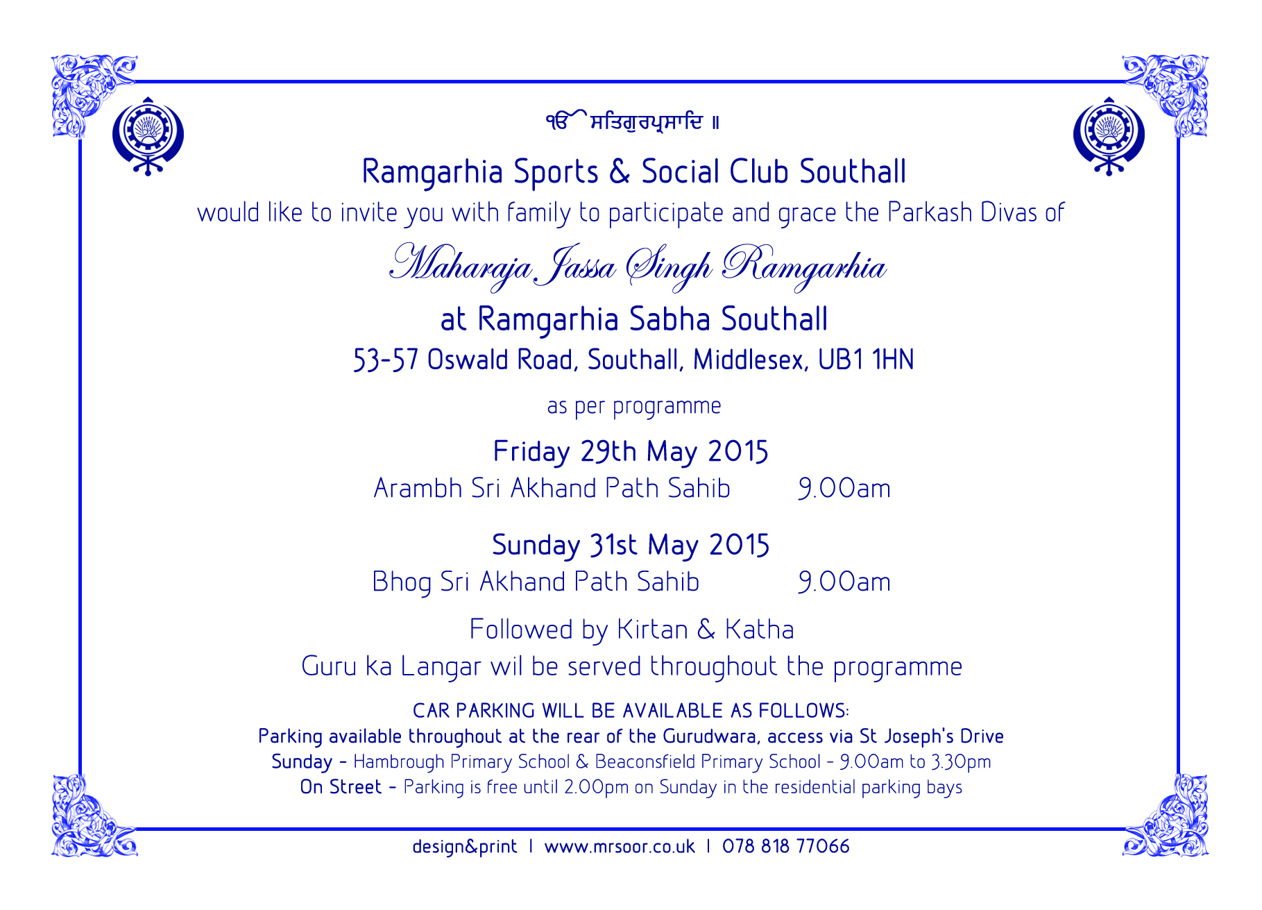 Ramgarhia Sports and Social Club – Akhand Path